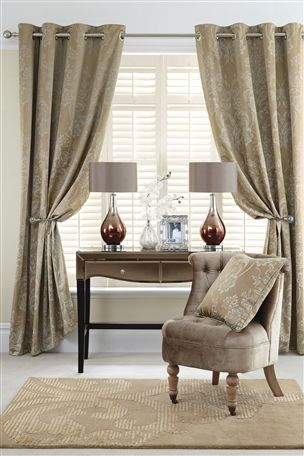 Buy Metallic Damask Eyelet Curtains From The Next UK Online Shop