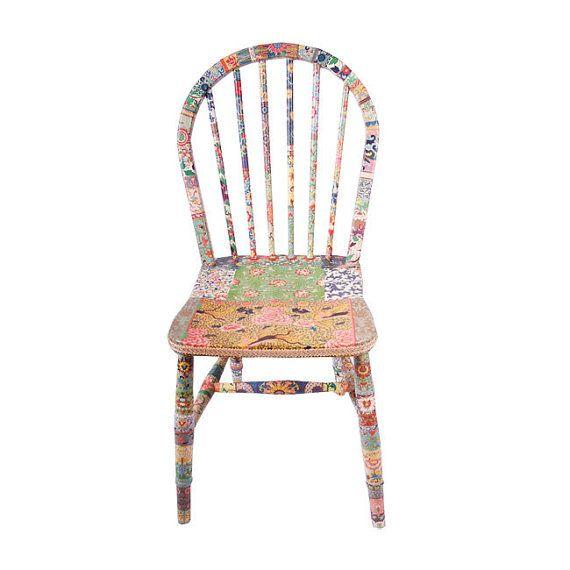 unique wooden chair decoupage Flora by kitschemporium on Etsy