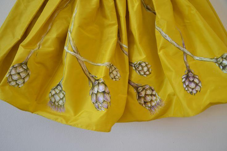 Silk Skirt handpainted artichoke pattern