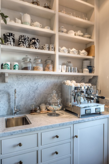 """""""The cappuccino station - an area specially built off the kitchen to house a commercial-quality cappuccino machine."""" lovely space"""