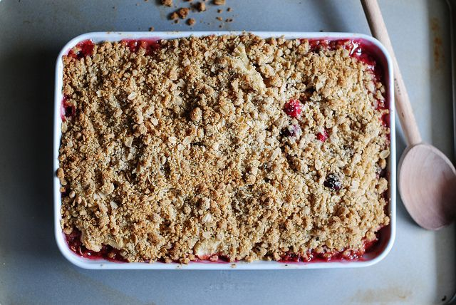 The cranberries add the perfect tartness to the sweet apples and herby, crumbly topping. Get this delicious crispy crumble recipe here.