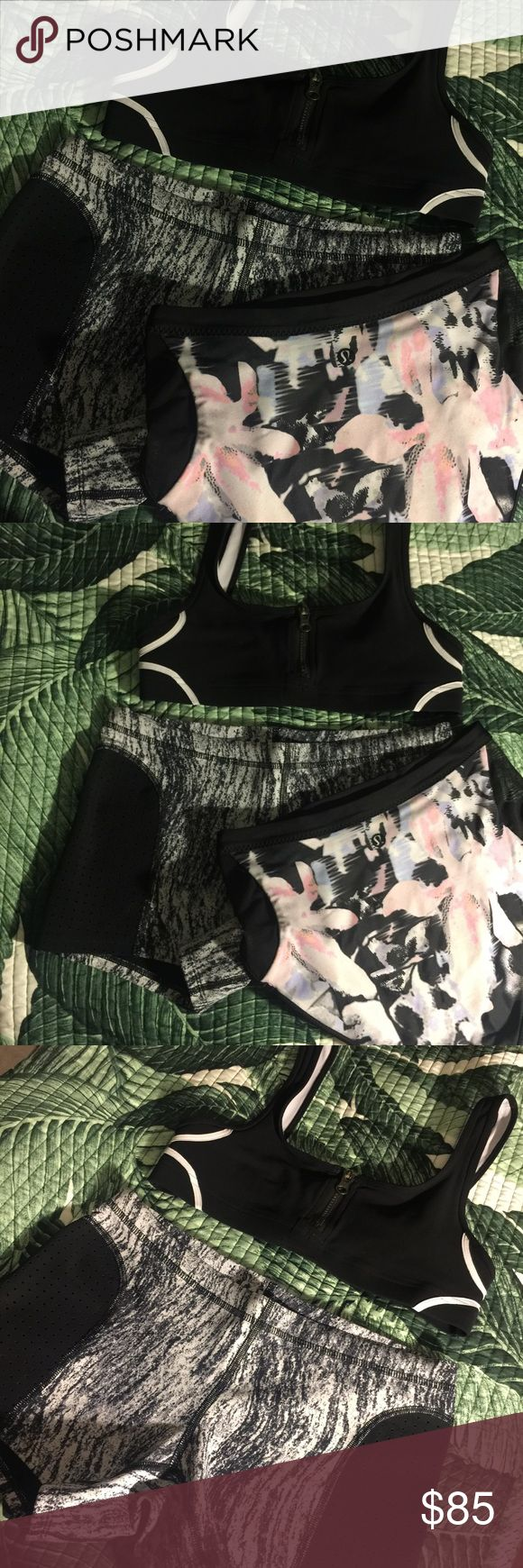 3 piece lululemon swimwear set all three items are size 4. This set comes with the swim top that zips up in the middle, the board shorts and the high waisted bottoms! lululemon athletica Swim