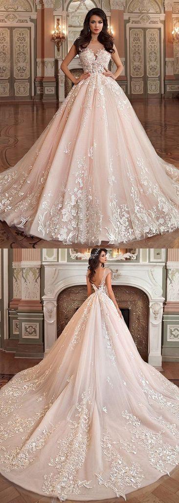 Princess Wedding Dresses,Tulle Wedding Dress,Ball Gown Wedding Dresses,Appliques Wedding Dresses,Long Wedding Dress