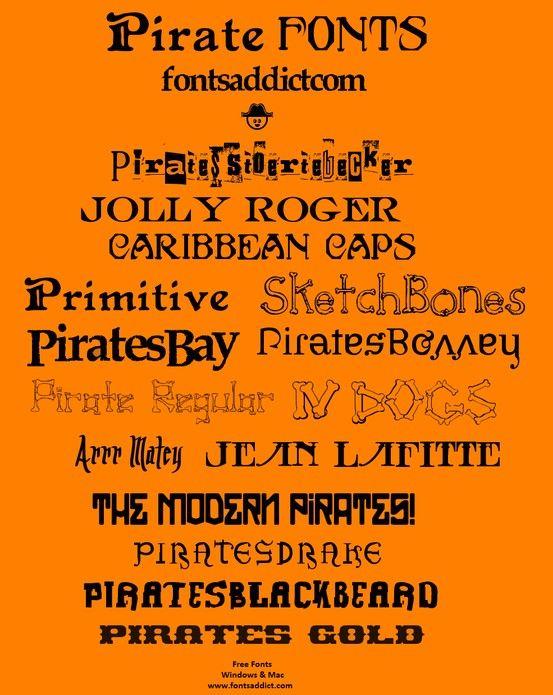 Free Fonts @ www.fontsaddict.com  Windows & Mac  Search 'Pirate'