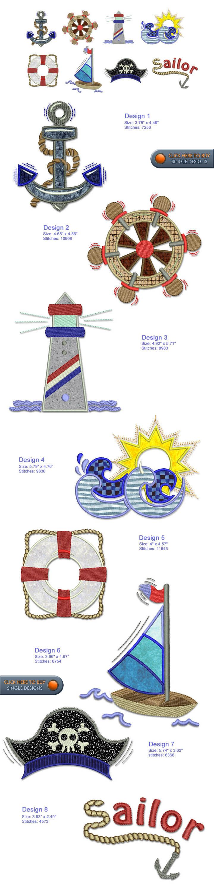 SAILOR MARINE Embroidery Designs Free Embroidery Design Patterns Applique - aw, look there's the dog's name!