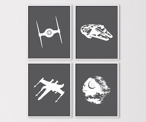 Star Wars Wall Art, Star Wars Prints, Star Wars Nursery, Millenium Falcon, Death Star, Tie Fighter, Star Wars Birthday, Instant Download