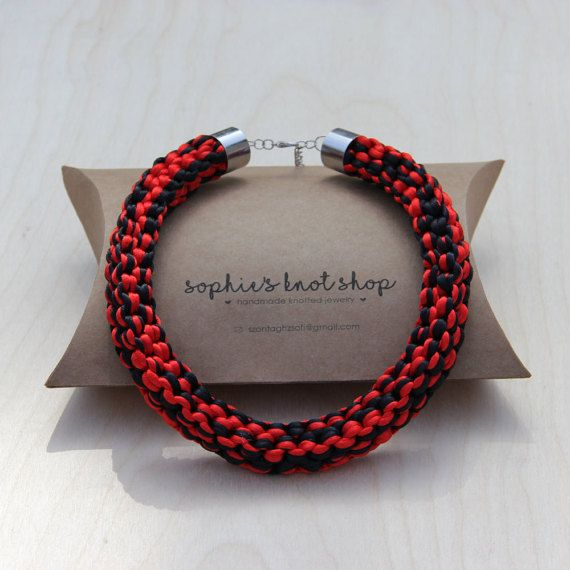 Black and red knotted necklace by SophiesKnotShop