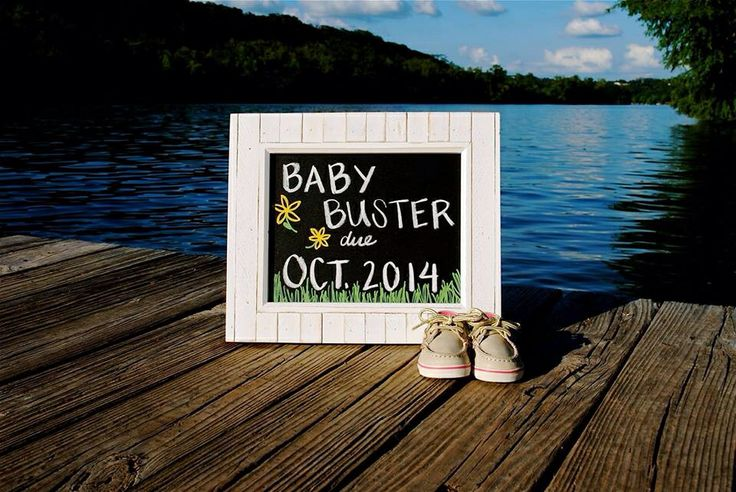 Pregnancy Announcement at the lake park with baby Sperry Top-siders