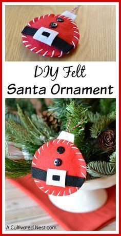 Making your own Christmas ornaments is a lot of fun, and a great activity for kids! This DIY felt Santa ornament would be cute on any Christmas tree!