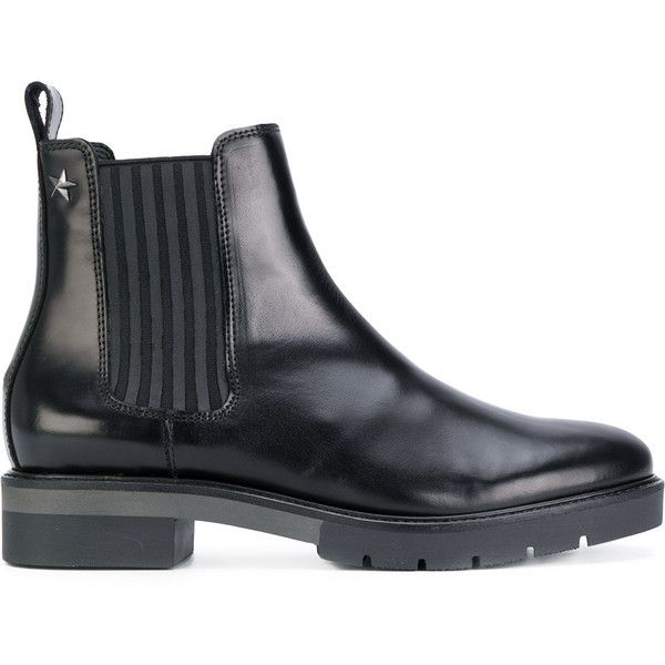 Tommy Hilfiger Chelsea boots (15.050 RUB) ❤ liked on Polyvore featuring shoes, boots, black, leather chelsea boots, black shoes, black leather shoes, studded chelsea boots and black star boots