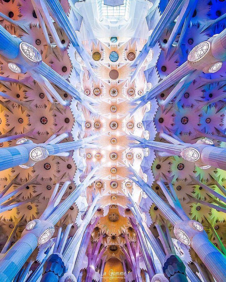 Segrada Familia from interior Barcelona - USA  . Via @la_gomme . #luxepicture