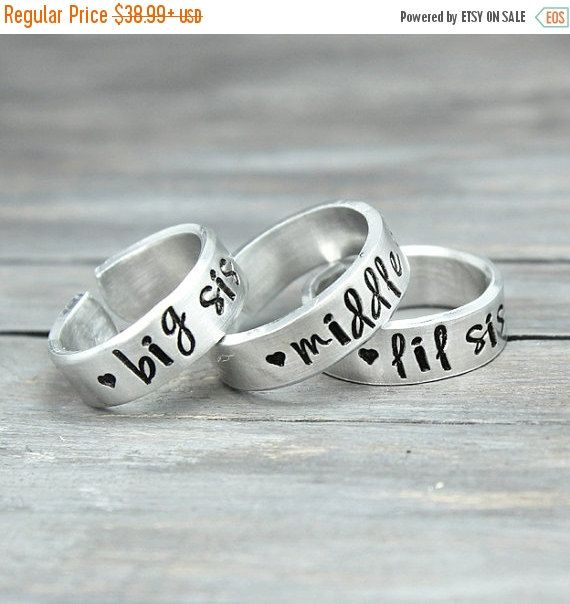 Sisters Rings, Sisters Jewelry, Big Sister Ring, Little Sister Ring, Sisters Gifts, Hand Stamped Rings