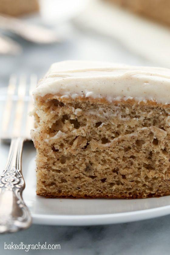Moist banana cake with cinnamon-brown sugar cream cheese frosting recipe from @bakedbyrachel