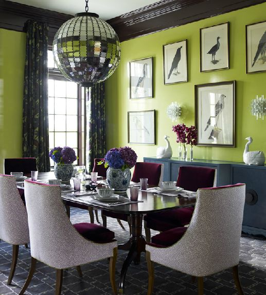 dining rooms - quadrille china seas aga purple on tint lime green