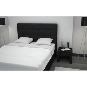 Lit couchage 160x200cm avec tête de lit capitonnée, facile d'entretien - 2 hauteurs de sommier - Une barre de renfort centrale permet d'intégrer 2 sommiers de 80x200cm