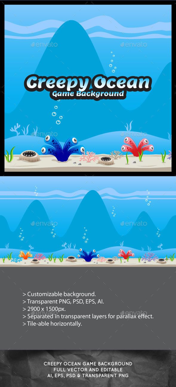 Creepy Ocean Game Background - #Backgrounds #Game Assets Download here: https://graphicriver.net/item/creepy-ocean-game-background/16937719?ref=alena994