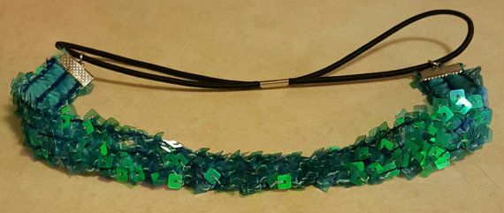 The Little Mermaid inspired Ariel headband with square sequins,Ariel headband is greenish blue,is connected  with a stretchy double band