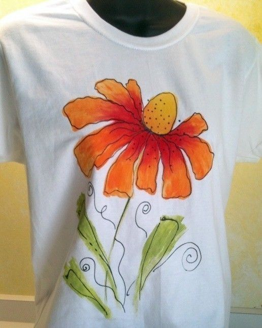 Sm to 3X Cone Flower Tee In Orange And Red. $20.00, via Etsy.