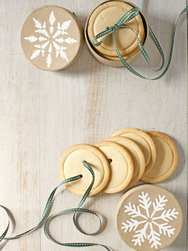 Present these sugar-cookie buttons by gathering a stack together and threading ribbon through the buttonholes. #christmas #recipes