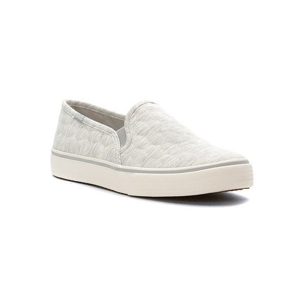 Keds Double Decker Quilted Jersey ($57) ❤ liked on Polyvore featuring shoes, sneakers, light grey, slippers, slip on sneakers, pull on shoes, slip-on sneakers, keds footwear and keds shoes