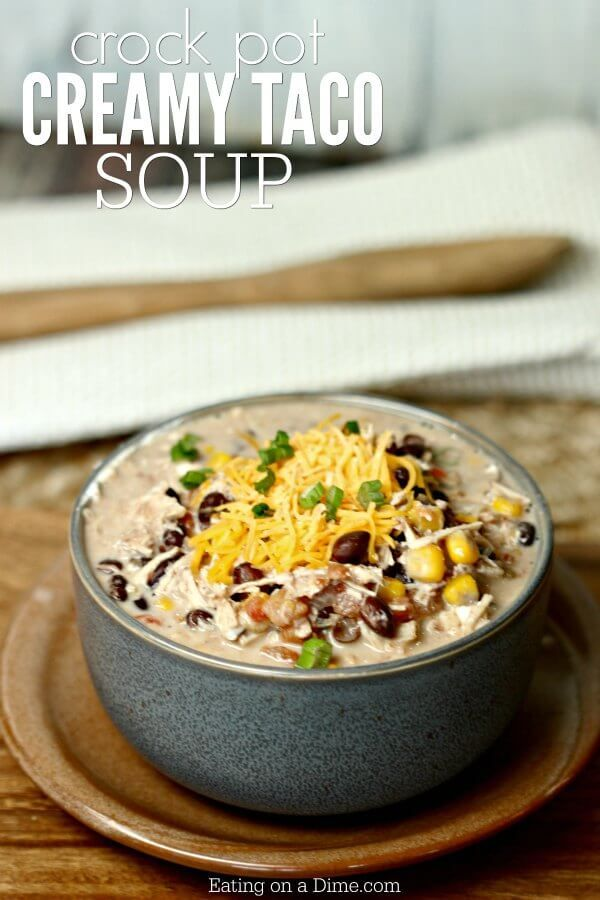 Try this Crockpot Creamy Chicken Taco Soup Recipe. It is so creamy and delicious. Not to mention easy! You will love creamy taco soup recipe!