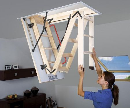 Folding loft ladder (concept... for the Tiny Home, instead of having it visible)