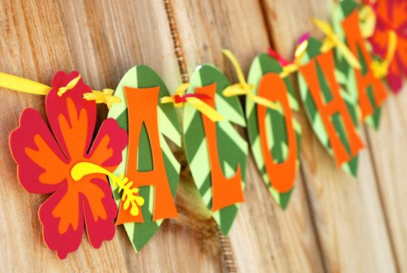 Aloha Luau Banner by prettypaperparty on Etsy, $18.00