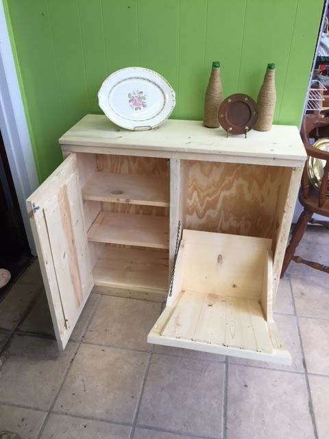 Double Handcrafted Primitive Rustic Pine Wood Trash Can Cabinet