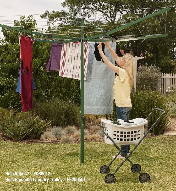 Hills Rotary Clotheslines - Everyday Range: Villa 47: Pre-wired and easy to install . Once fully raised the Villa will catch the breeze and spin in the wind while gently drying your laundry.  The Hills Panache Laundry Trolley makes wheeling your laundry to the line a breeze!