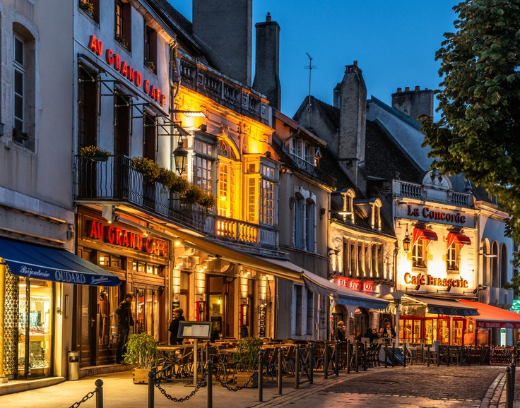Cafes in the Evening, Beaune, France