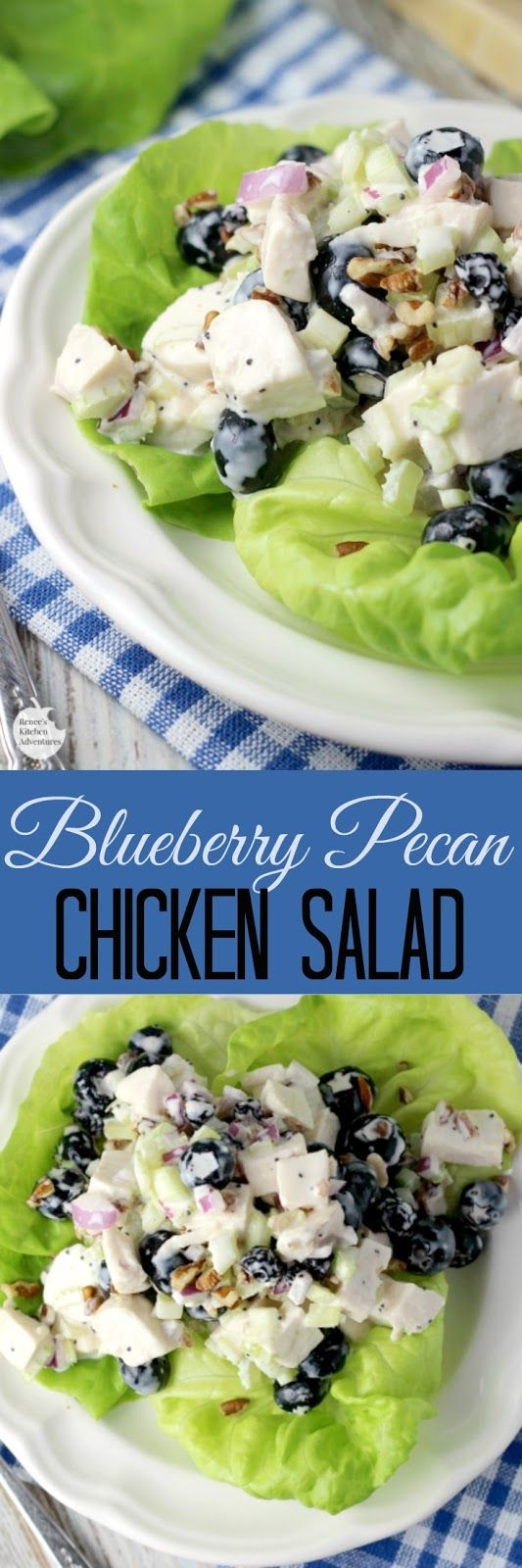 Blueberry Pecan Chicken Salad | by Renee's Kitchen Adventures - easy recipe for a creamy chicken salad made with plump, sweet blueberries and crunchy pecans! #BlueberryToss #FWCon