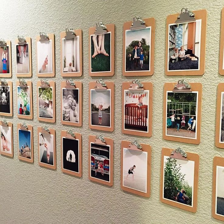 rows of small clipboards and 5x7 bordered prints is a fun way to show off photos and change them often!
