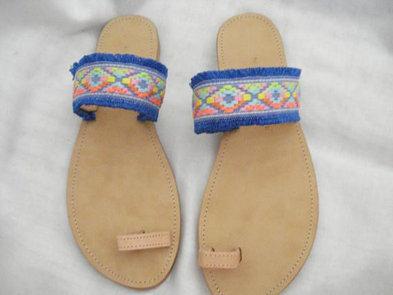 Boho toe ring sandals Greek leather sandals Flat leather