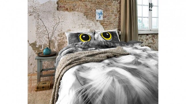 Dekbedovertrek Owl Look Grey
