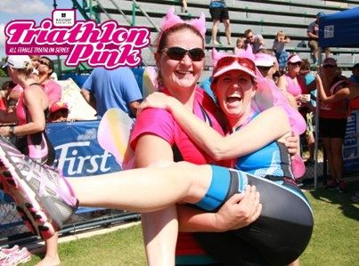 Triathlon Pink is about fun with friends! #teampinkie