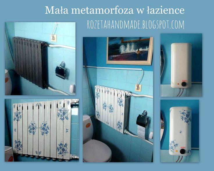 Mała metamorfoza w łazience. Grzejnik ozdobiony techniką decoupage