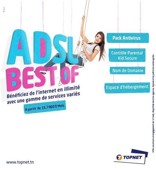 """TOPNET: Abonnement internet Tunisie: ADSL best of de Topnet #best #internet #for #gamers http://namibia.nef2.com/topnet-abonnement-internet-tunisie-adsl-best-of-de-topnet-best-internet-for-gamers/  # ADSL BEST OF L'ADSL Best Of de Topnet est un abonnement ADSL qui vous permet de bénéficier d'une connexion internet à haut débit, en illimité. Elle offre de nombreux avantages et de services gratuits ! Avantages Nouveau. """"Pack Surfi"""", clé 4G gratuite + forfait data mensuel de 1 Go à seulement 5…"""