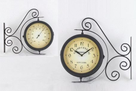 Ceas metalic colonial de perete cu termometru Grand Central