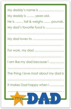 Dad questionaire