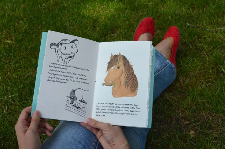 Catching some sunshine with a favorite book. Milly The Naughty Pony