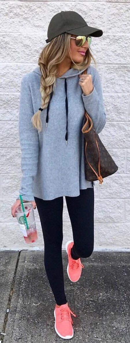 #spring #outfits  Black Cap + Grey Sweater + Black Leggings + Coral Sneakers