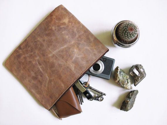 Cracky Brown Cowhide Leather Clutch/ Hand-Stitched/ Handcrafted