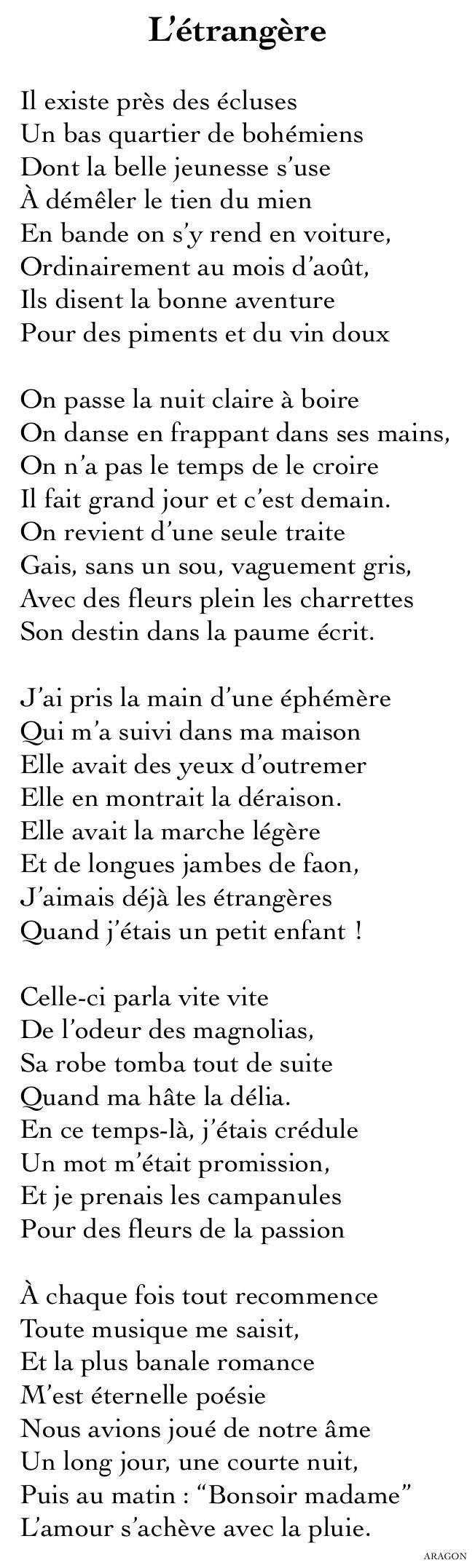 L'étrangère - Louis Aragon