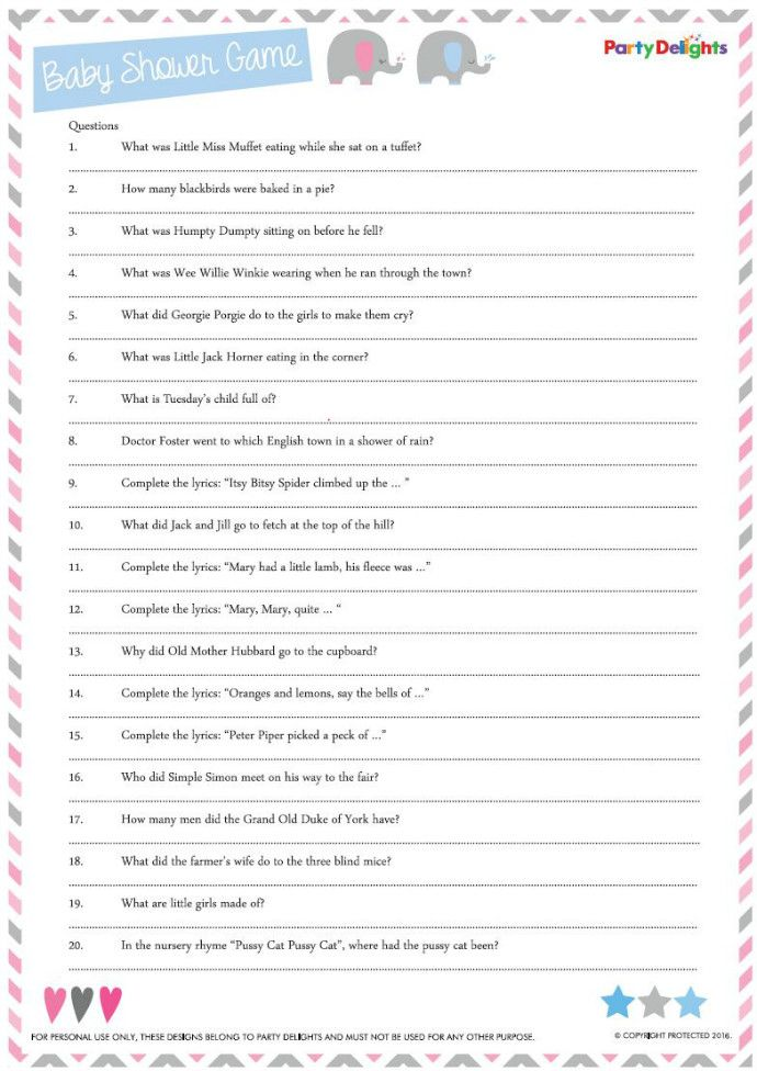 Free Printable Nursery Rhyme Quiz Baby Shower Ideas Pinterest