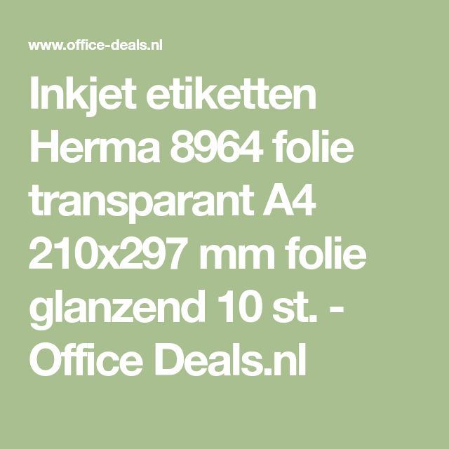 Inkjet etiketten Herma 8964 folie transparant A4 210x297 mm folie glanzend 10 st. - Office Deals.nl