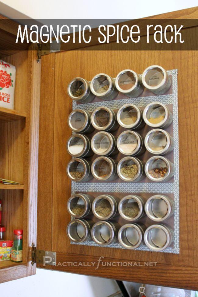 Magnetic Spice Rack, 25 Kitchen Organization Ideas via A Blissful Nest