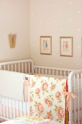 Love this wall color and small white polka dots for baby girl's nursery