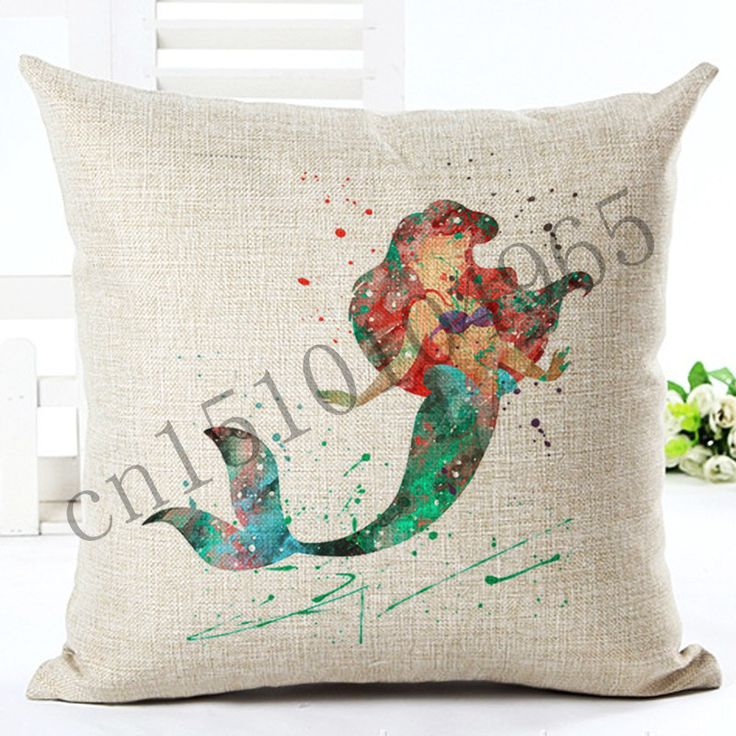2016 High Quality Cartoon Style Fish Girl New Home Decorative Cushion Chair Throw Pillow Square Cojines Cotton Linen Fundas