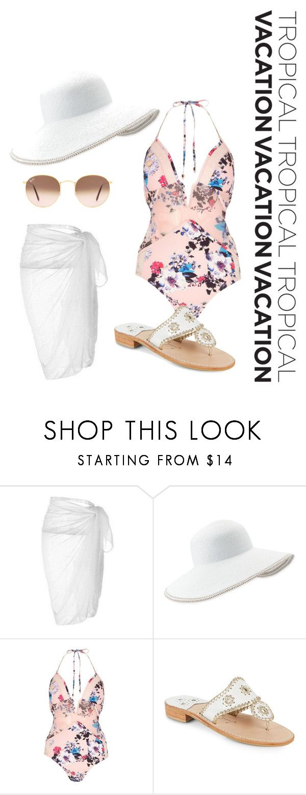 """""""Tropical Getaway ◇"""" by jenniferlynnreid ❤ liked on Polyvore featuring Eric Javits, River Island, Jack Rogers and Ray-Ban"""