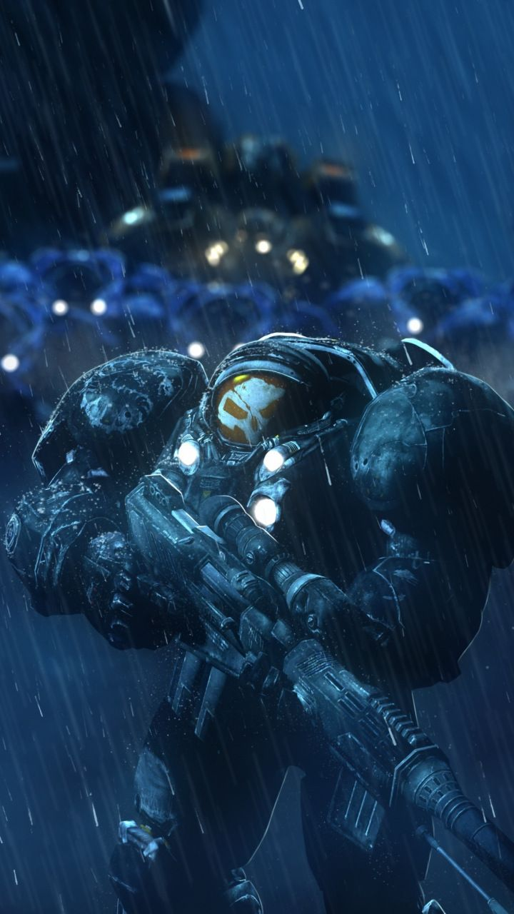 StarCraft: Remastered, soldiers, rain, video game, 720x1280
